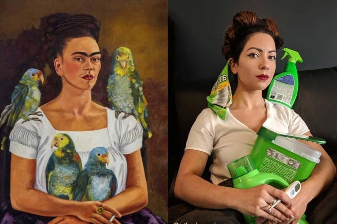 Détournement d'un autoportrait de Frida Kahlo