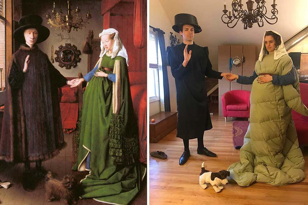 """Détournement du tableau 'Les époux Arnolfini"""" de Jan van Eyck"""